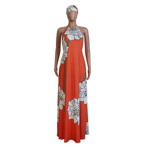 Floral Print Summer Boho Maxi Dress With Headscarf