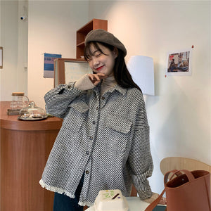 Houndstooth Shirts Vintage Loose Jacket