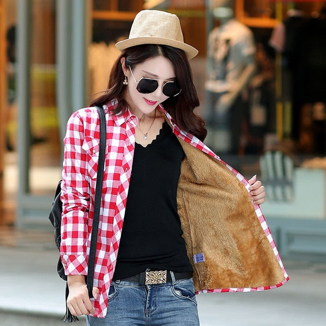 Warm Plaid Shirt Style Jacket