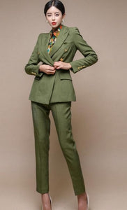 Green Blazer Double-breasted Slim Jacket & Pencil Pant