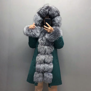 Real Fox fur fur collar hooded fur parka