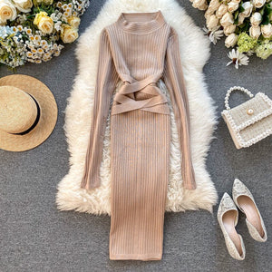 Autumn Long Sleeve Knitted Criss Cross  Dress