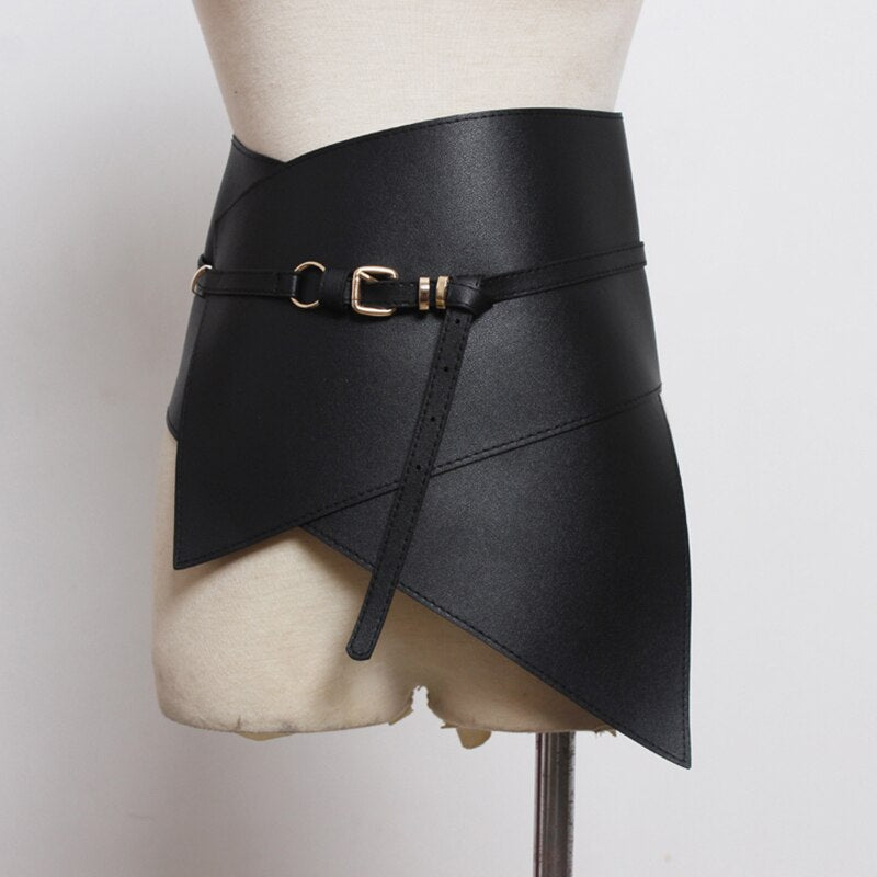 Black Irregular Pu Leather Long Wide Belt