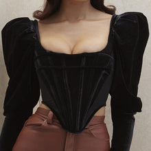 Load image into Gallery viewer, Vintage Puff Sleeve Corset