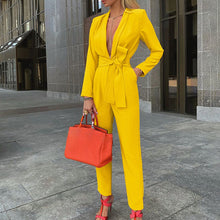 Load image into Gallery viewer, LASPERAL Women Autumn Women Set Tracksuit Long Sleeve Blazers Pants Suit Two Piece Set Fashion Office Lady Sash Business Wear