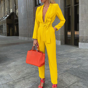 LASPERAL Women Autumn Women Set Tracksuit Long Sleeve Blazers Pants Suit Two Piece Set Fashion Office Lady Sash Business Wear