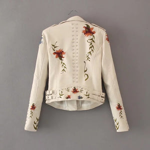 Embroidery faux leather PU Jacket