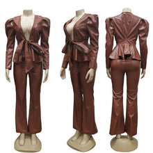 Load image into Gallery viewer, PU Leather Trouser Suit