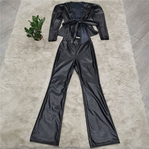 PU Leather Trouser Suit