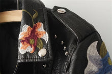 Load image into Gallery viewer, Embroidery faux leather PU Jacket