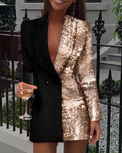Load image into Gallery viewer, Sequinned Patchwork Blazer Dress