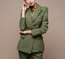 Load image into Gallery viewer, Green Blazer Double-breasted Slim Jacket & Pencil Pant