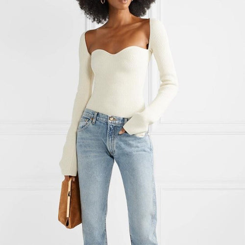 White Side Split Knitted Sweater Square Collar