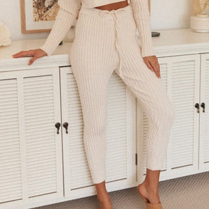 Winter Solid Casual Two Piece