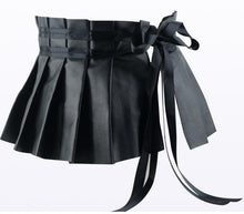 Load image into Gallery viewer, Black Elegant Pleated Soft Faux Leather Wide Belt
