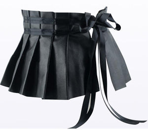 Black Elegant Pleated Soft Faux Leather Wide Belt