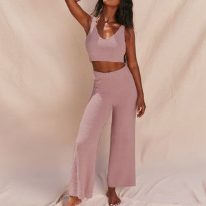 Fluffy  Crop Top High Waist Pants
