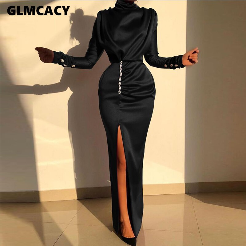Ruched Thigh Slit Evening Dress