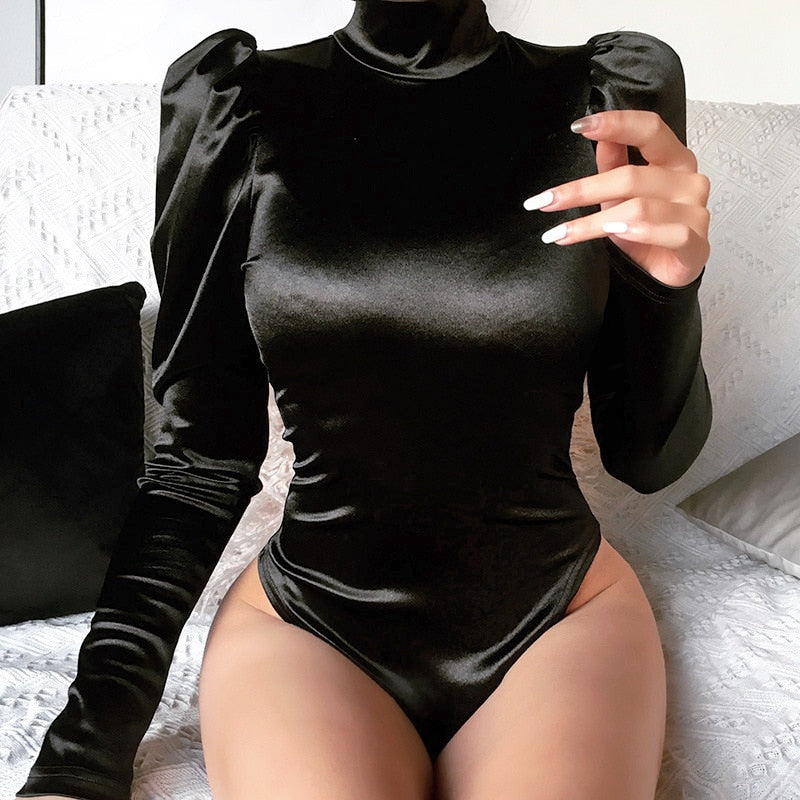 Turtleneck Long Puff Sleeve Bodysuit