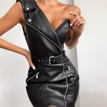 Load image into Gallery viewer, Faux Leather One Shoulder Dress