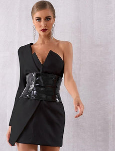One Shoulder Tuxedo Dress