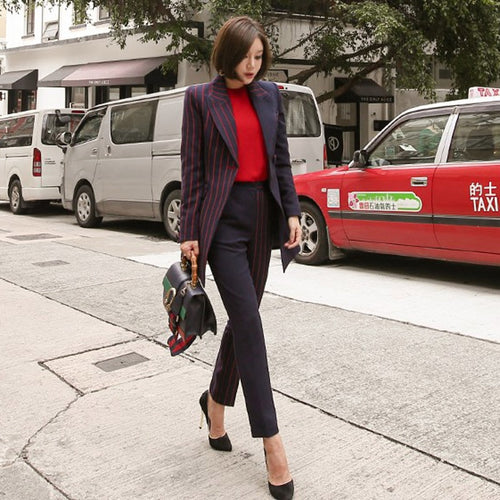 Striped Blazer Jacket & Trousers Suit