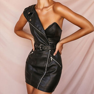 Faux Leather One Shoulder Dress