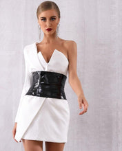 Load image into Gallery viewer, One Shoulder Tuxedo Dress