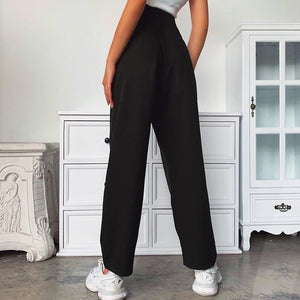 High Waist Buckle Side Trousers