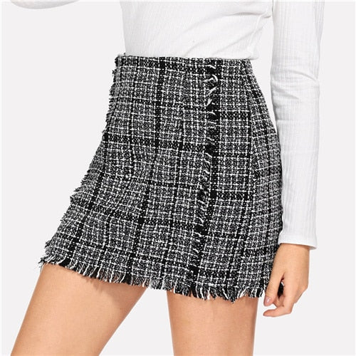 Frayed Edge Trim Plaid Tweed Mid Waist Skirt