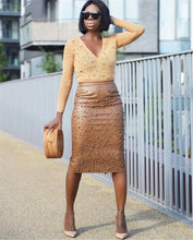Load image into Gallery viewer, PU Faux Leather Skirt Pearl Beading High Waisted Pencil Skirt
