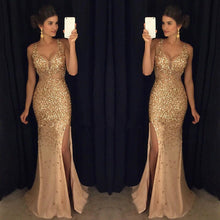 Load image into Gallery viewer, Sequinned High Split Evening Dress
