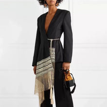 Load image into Gallery viewer, Spliced Contrast Color Tassel Belt Jacket