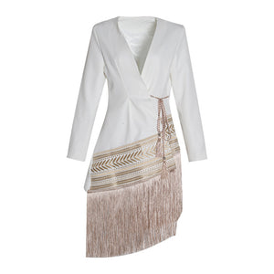 Spliced Contrast Color Tassel Belt Jacket