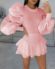 Load image into Gallery viewer, Puff Ruffle Long Sleeve Blouse