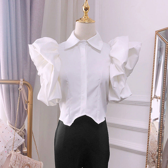 Vintage Ruffles Women Blouse Lapel Collar Butterfly