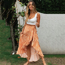 Load image into Gallery viewer, Casual Boho Maxi Wrap Ruffle Skirt