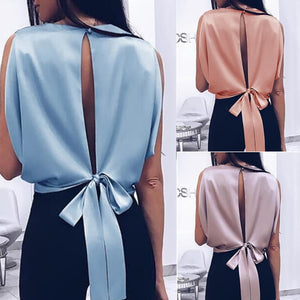 Summer Sexy Tops  Blouse Bowknot