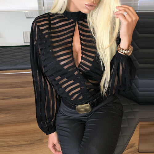 Sheer Mesh Long Puff Sleeve Blouses