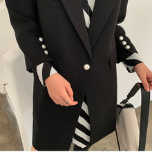 Load image into Gallery viewer, Black Striped Printed Stitch Long Blazer