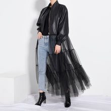 Load image into Gallery viewer, Black Mesh Big Size Long Pu Leather Jacket