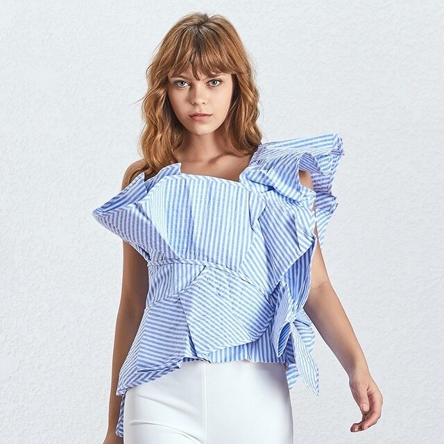 Striped Ruffles Blouse One Shoulder