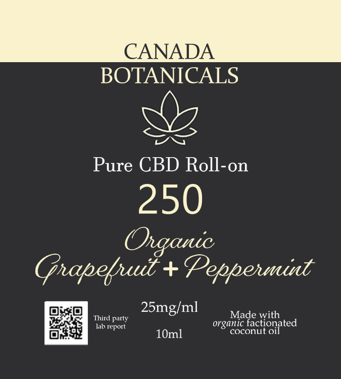 Pure CBD Roll-on Topical 250mg Organic Grapefruit & Peppermint