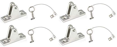 Marine Part Depot Four Stainless Steel Top Bimini Deck Hinges With  Removable Pin And Lanyard