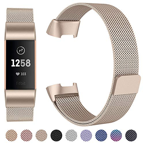 Ezco Compatible Fitbit Charge 3 / Charge 3 Se Bands, Stainless Steel  Milanese Loop Watch Strap Unique Magnet Replacement Wristband Accessories  Woven