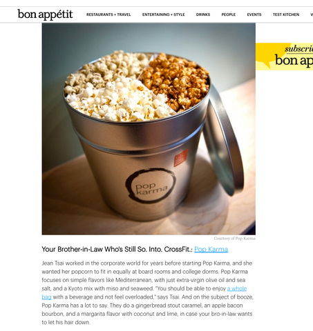 Pop Karma is one of Bon Appétit's Top 4 Popcorn Tin Gifts