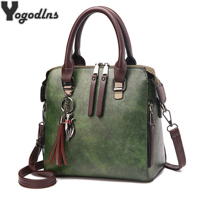 e15e2cf060f1 Vintage PU Leather Ladies HandBags Women Messenger Bags TotesTassel  Designer Crossbody Shoulder Bag Boston Hand Bags