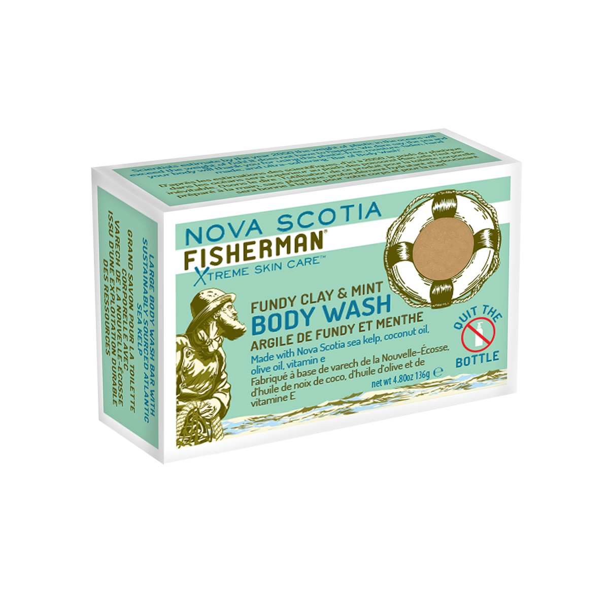 New! Body Wash Bar - Fundy Clay & Mint - Nova Scotia Fisherman Sea Kelp Skincare