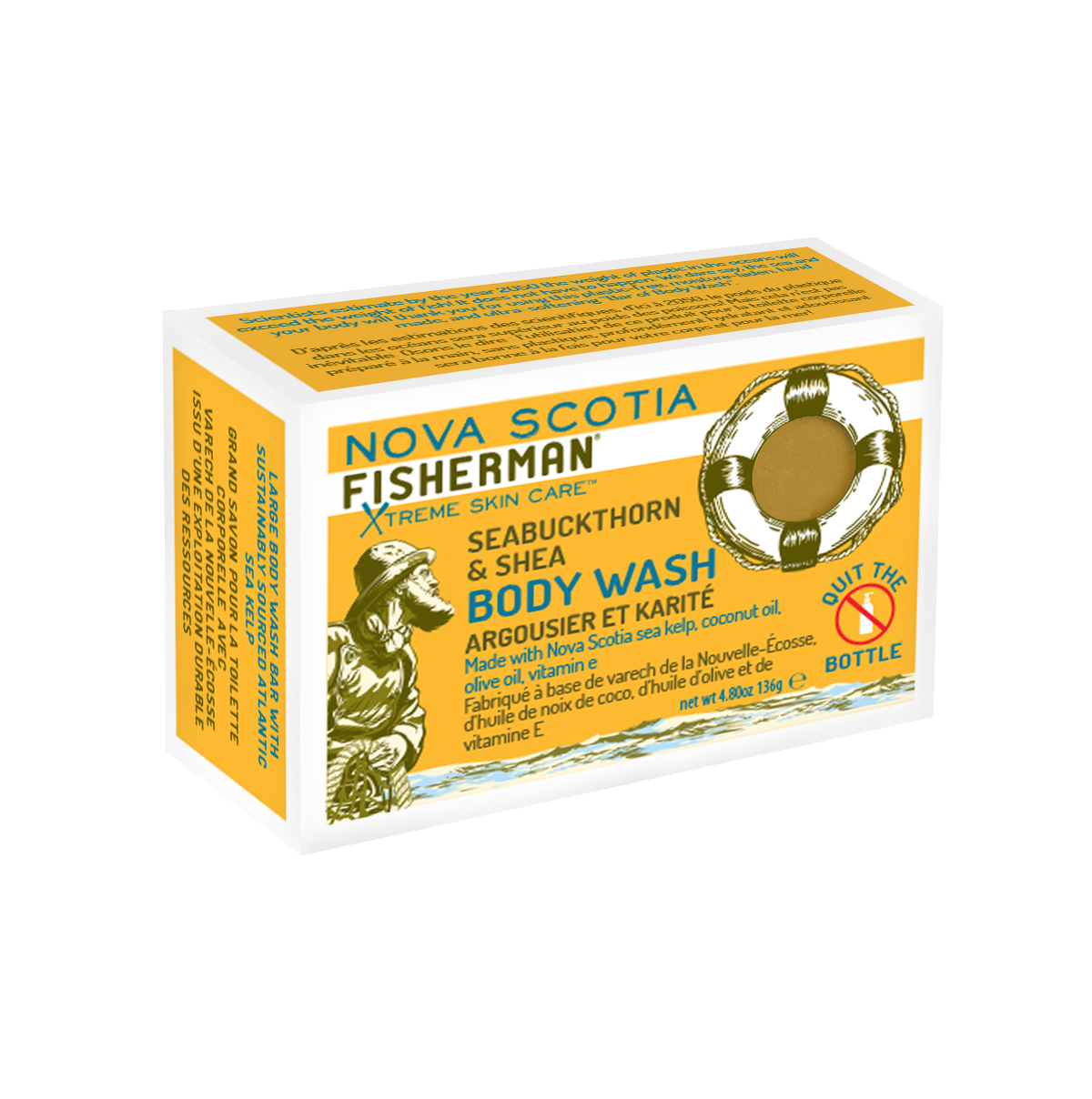 New! Body Wash Bar - Seabuckthorn and Shea - Nova Scotia Fisherman Sea Kelp Skincare