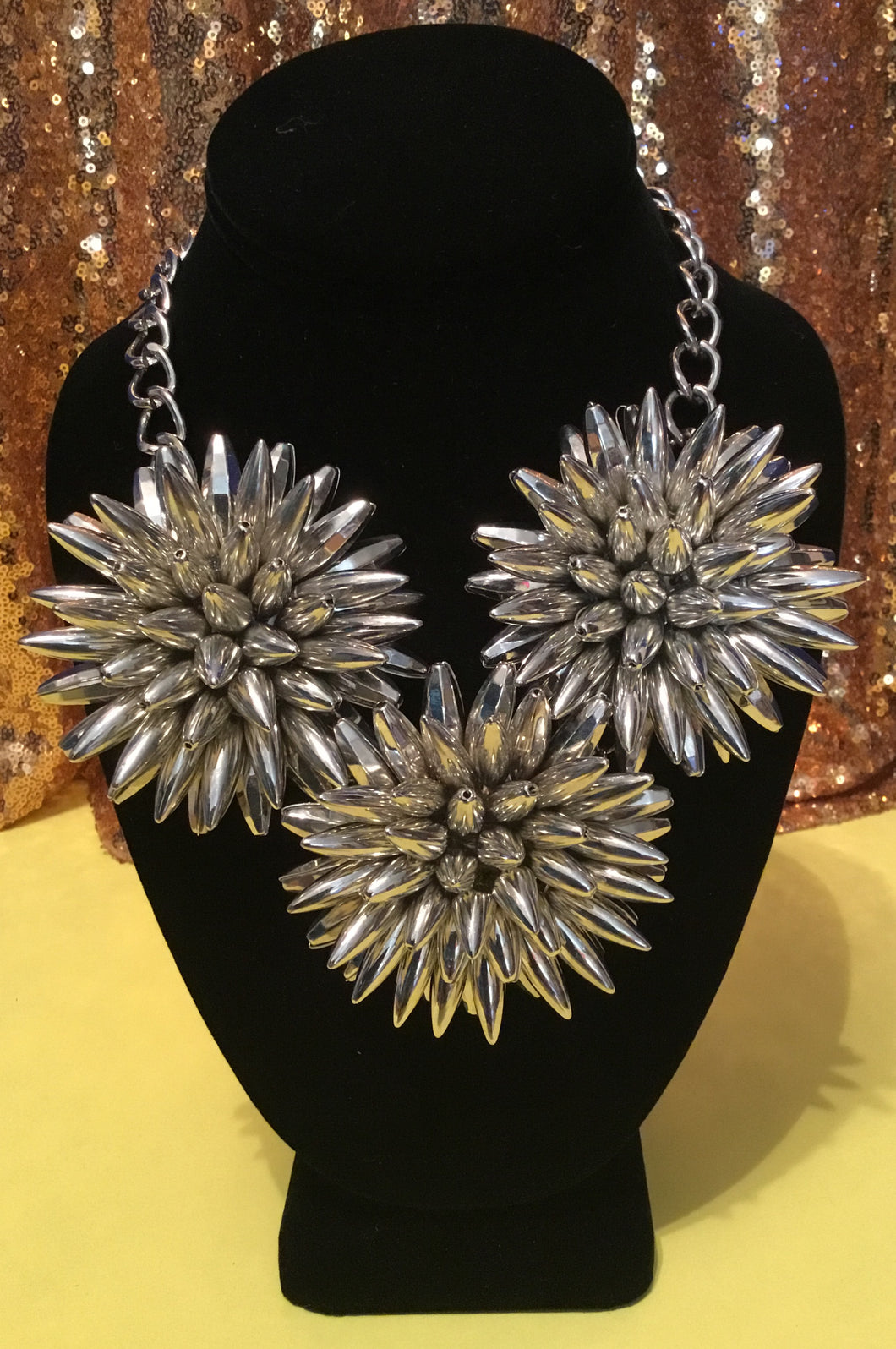 Large Silver Spike Flower Necklace